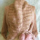 Ladies Cable Knit Blush Pink And Metallic Gold Pom Pom Candela NYC Shrug Sweater