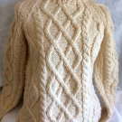 Vintage Ladies Hand-Knit Italian Remo Chunky Cable Knit 1970's Pullover Sewater