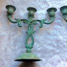 Vintage Made in India Rustic Green Patina Candelabras Set French Country Tapered