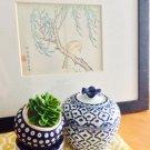 Vintage Lidded Thai Navy Ginger Jar// Asian Vase With Lid Decoratve Urn