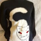 Holloween Fall Cat Fur Crewneck Pullover Black Sweater Size Small  Animal Print