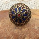 Ethnic Mosiac Lapis Coral and Brass Resin Handcrafted Ring