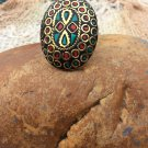 Indian Bohemian Turquoise & Coral Ring