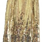 Vintage Ombre Metallic Gold Sequin BodyCon Party Pencil Skirt
