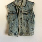 Unisex Jordache basic Vintage 80s Distressed Women's Denim Jean Vest Rockability