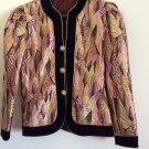 Vintage Metallic Formal Blazer Brocade & Velvet Rhinestone Button Jacket Retro