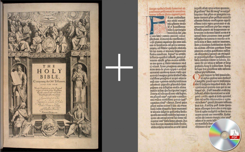 King James Bible 1611 First Edition + Latin Gutenberg Bible 1454