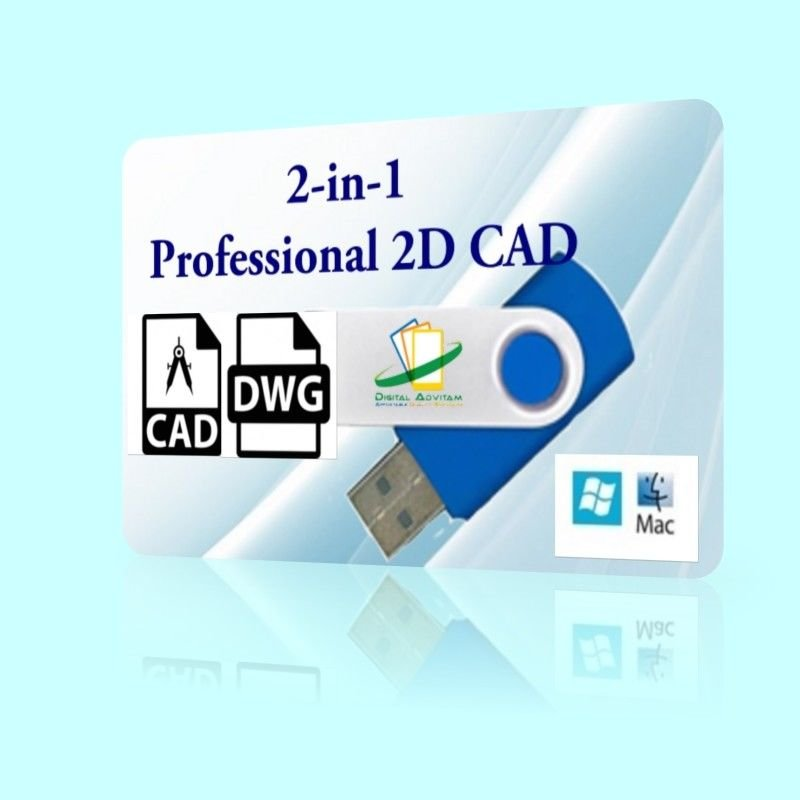 2-in-1 2D CAD Software Open DXF DWG Drawing PC WINDOWS 7 8 10 Mac USB