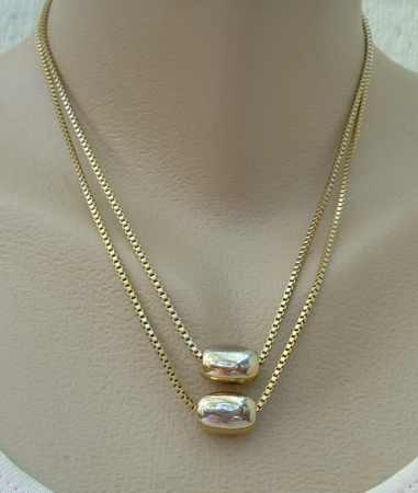 Double Strand Venetian Box Chain Necklace w Heavy Bead Sliders Vintage Jewelry