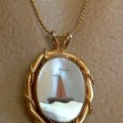 MOP Abalone Sailboat or Lighthouse Buoy Necklace Marine Jewelry