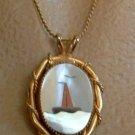 MOP Abalone Sailboat or Lighthouse Buoy Necklace Marine Jewelry