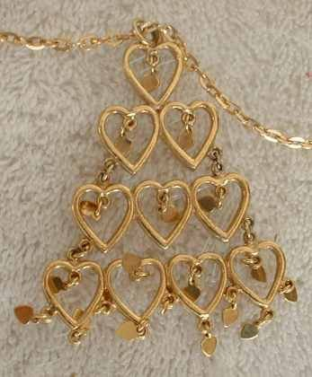 Tree of Hearts Pendant Necklace 29 hearts Fab Christmas Jewelry