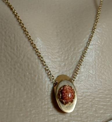 Sparkling Goldstone Slider Necklace Delicate Vintage Jewelry
