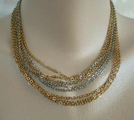 9-Strand Chain Necklace Silver and Gold-toned Fab Clasp Jewelry