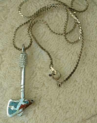 Hatchet Axe Pendant Necklace Inlaid Turquoise Coral Chips Woodsman Jewelry