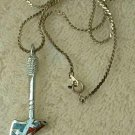 Inlaid Turquoise Coral Chips Hatchet Axe Pendant Necklace