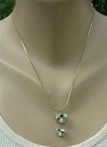 Balls of Rhinestones Pendant Necklace Sparkling Vintage Jewelry