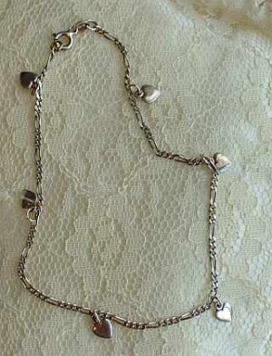 Sterling Silver Ankle Bracelet or Childs Necklace 9.75 inches Vintage Jewelry