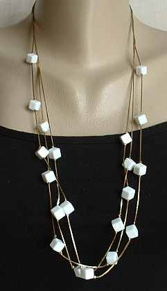 Triple Stand Chain Necklace w White Cubes 30 Inches Vintage Jewelry