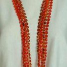 Long 5-strand 50-inch Necklace Red beads 60s Vintage Jewelry
