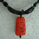Red Faux Cinnabar Black Seed Bead 5-strand Pendant Necklace Vintage