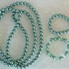 Metallic Green Set Bead Necklace w 2 Bracelets One with glass crystals
