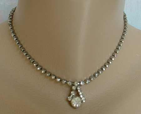 Rhinestone Choker Pendant Necklace Vintage Jewelry