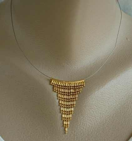 Beaded Fringe Slider Pendant Necklace Invisible Geometric Deco-Style Jewelry