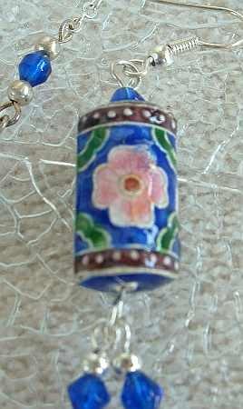 Pink Blue Green Enamel 20-inch Necklace Shoulder Dusters Earrings SET