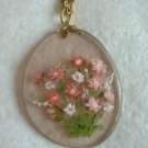 Hand Painted Eyeglass lens Necklace Pink Flowers Unusual
