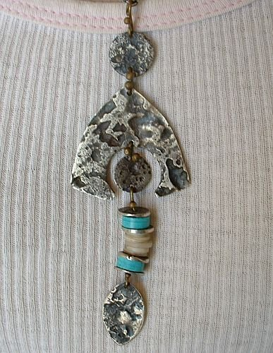 Turquoise Drop Necklace Modernist Norwegian Style Vintage Jewelry