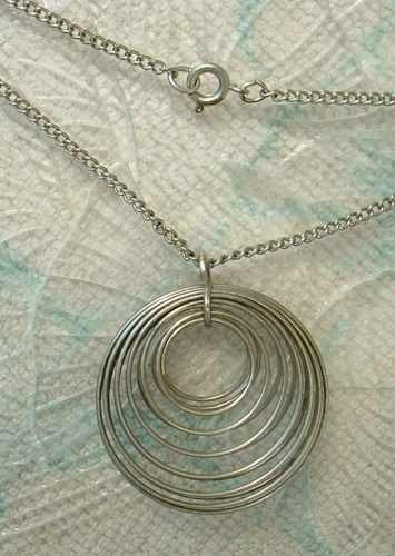 3-D Coiled Circles Pendant Necklace 18 inch chain Vintage Jewelry