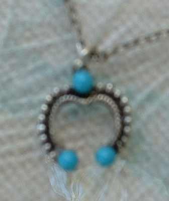 Lucky Horseshoe Charm Pendant Necklace faux Turquoise beads