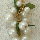 Faux Pearl Cluster Pendant Necklace Lucite Leaves Vintage Jewelry