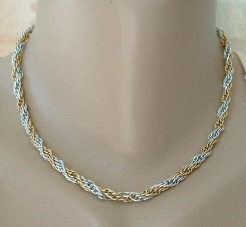 Lightweight Two-tone Plated Aluminum Rope Necklace  16-inches Jewelry