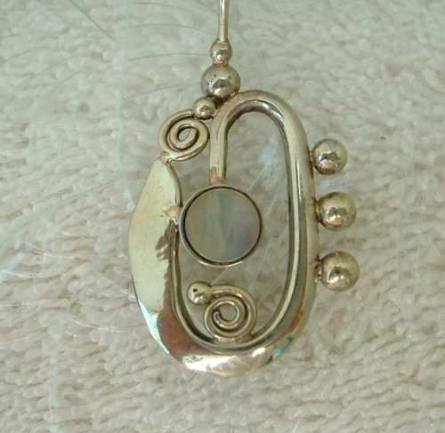 Abstract Saxophone Horn Pendant Necklace Abalone Center Music Jewelry