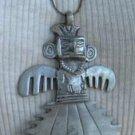 Pewter Aztec Thunder God Pendant Necklace Vintage Jewelry