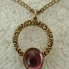 Amethyst Cabochon Circle Pendant Necklace Vintage Jewelry