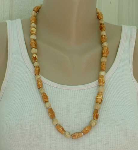 Faux Bamboo Bead Necklace 27-inches long Wood Style Jewelry