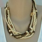 Avenue Signed 6-Strand Bone Necklace Brown White Multi-Strand Jewelry
