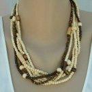 Avenue Signed 6-Strand Bone Necklace Brown White Multi-Strand Jewelry
