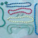 Lot of 6 Bead Necklaces Spirals Oblong Luminescent Blue Red White Jewelry