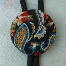 Paisley Cloth Bolo Necklace Vintage 1970s Vintage Jewelry