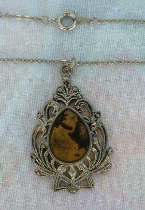 Enamel Heraldic Wreath Shield Pendant Necklace Gold Foiled Vintage