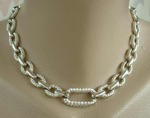 Classy Coiled Rope Textured Link Necklace Vintage Jewelry