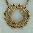 Egyptian Revival Two Headed Cobra Pendant Necklace As-Is
