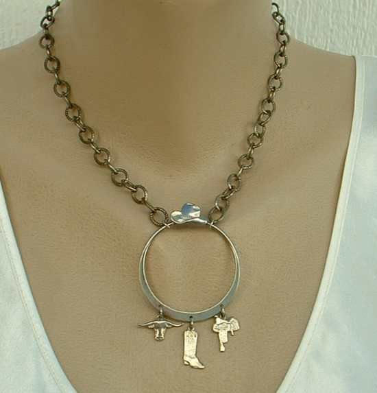 Western Hoop Pendant Necklace Dangles Saddle Boot Longhorn Stetson Jewelry