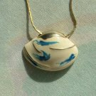 Shell-Shaped Enameled Pendant Necklace Abstract Blue Design Gold White Jewelry