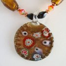 Abstract Floral Lampwork Pendant Necklace Magnetic Clasp Colorful Jewelry