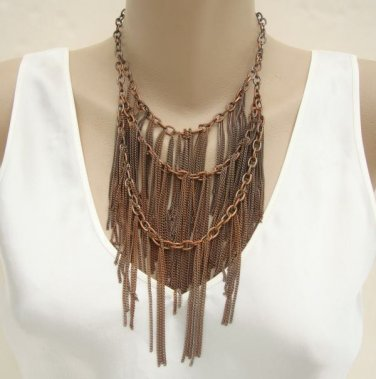 Copper Chain Bib Necklace Triple Strand Unusual Vintage Jewelry